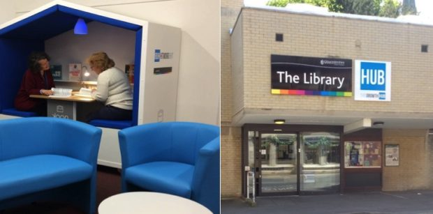 Two photos, on the left, a meeting pod, on the right, Stroud library showing Growth Hub sign above the door