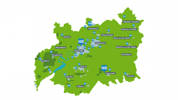 A map showing growth hubs in libraries across Gloucestershire
