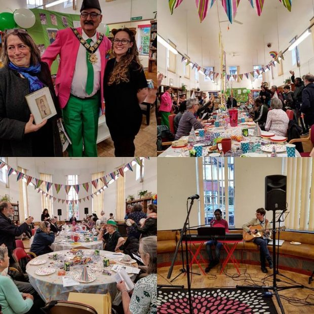 A collage of 4 small photos showing a tea party in the library, people dressed in fancy dress costumed themed to Alice in Wonderland, bunting and cakes.