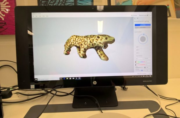 Scanned 3D leopard in the HP Sprout.