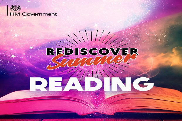End on view of an open book laying flat, so the viewer can see the ends of the top edges of the pages fanned out. 'Rediscover Summer' and 'reading' in the foreground. Rediscover is black upper case, Summer is red lower case with uppercase s, reading is white bold upper case. Overall background is white, pink. purple, lack and orange smudged together.