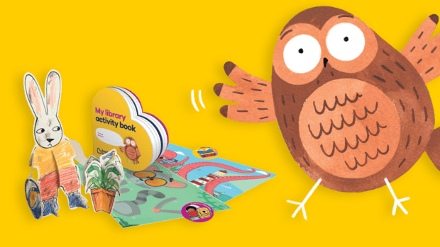BookTrust Storytime resources. Paper model of a cartoon rabbit with a potted plant, , a cartoon owl a heart shaped book titled 'My library activity book', stickers and pictures for the stickers to go on. All on a yellow background.